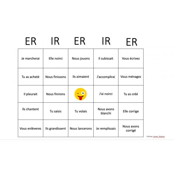Bingo des verbes