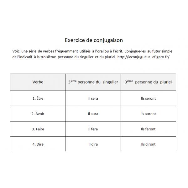 Exercice de conjugaison 5