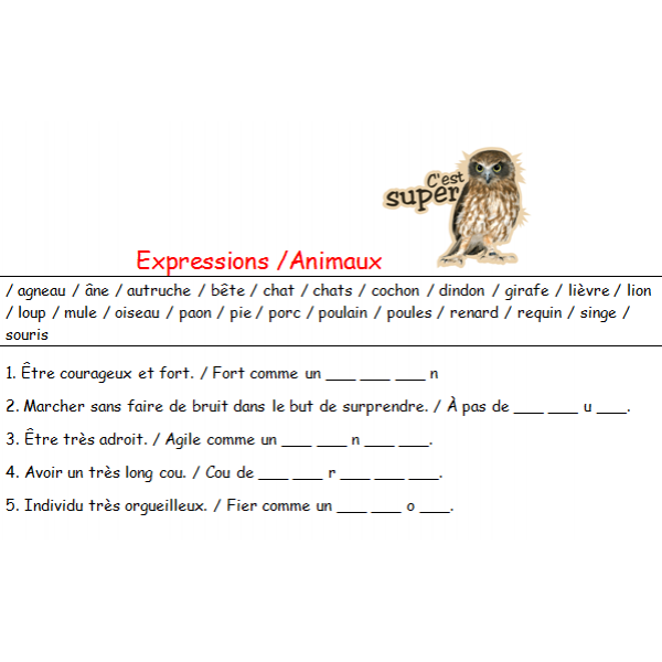 Expressions / Proverbes / Thème : animaux