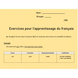 Exercices pour l'apprentissage du français extrait