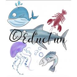 Ensemble clipart thème vie marine