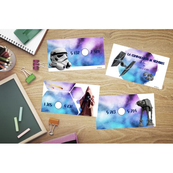 Cartes à tâche comparaison nombres Star Wars