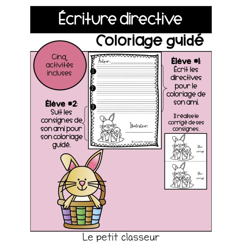 Coloriage De Paques Cycle 2.Ecriture Directive Coloriage Guide Paques