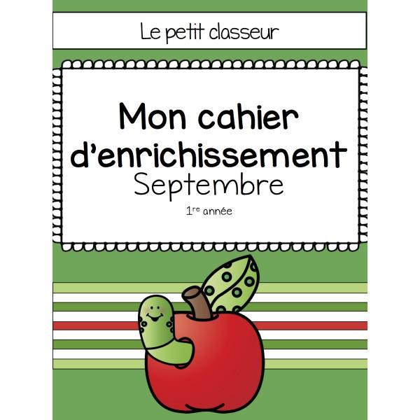 Cahier d'enrichissement (1re) - Septembre