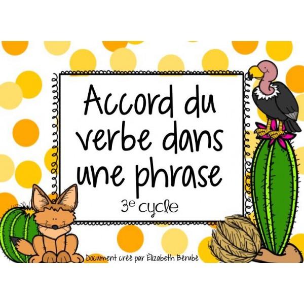Cartes à tâches : Accord du verbe dans une phrase