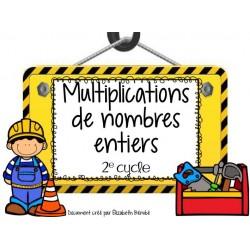 Cartes à tâches :Multiplications de nombres