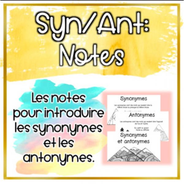 Synonymes/Antonymes - Notes