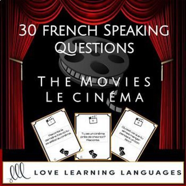 French speaking prompt cards - Le cinéma