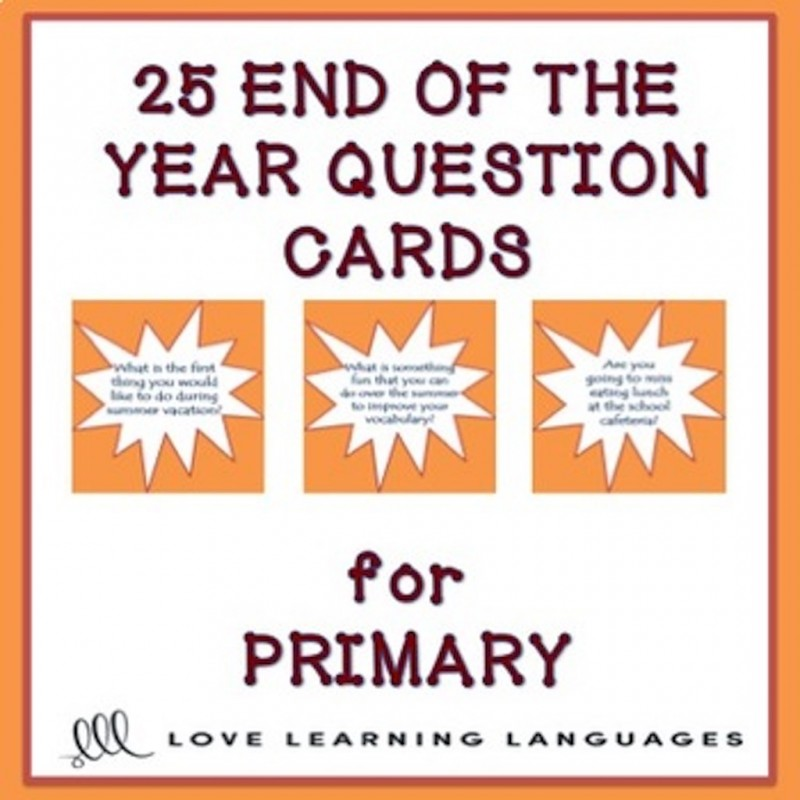 ESL End Of Year Questions For Kids