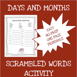 English months and days scrambled words worksheet