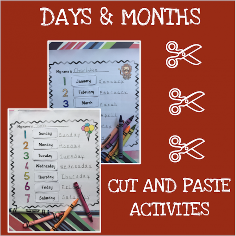 English months and days cut and paste activity