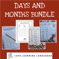 English months and days bundle
