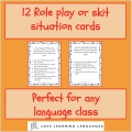 Role play cards for French, Spanish, English