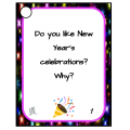 30 New Year's speaking prompt cards in English
