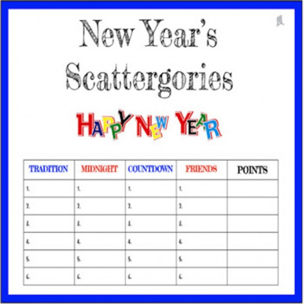 New Year's Scattergories Game in English