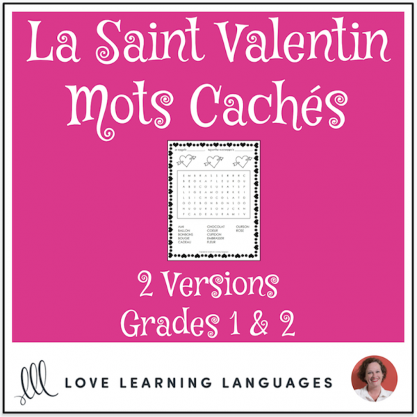 French Valentine's Day Mots Cachés Saint Valentin