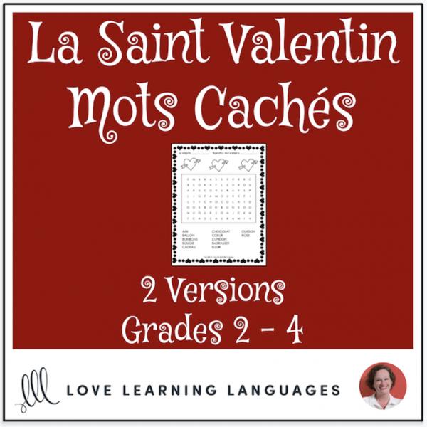 French Valentine's Day Word Search Saint Valentin