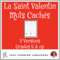 French Valentine's Day Word Search Saint Valentin
