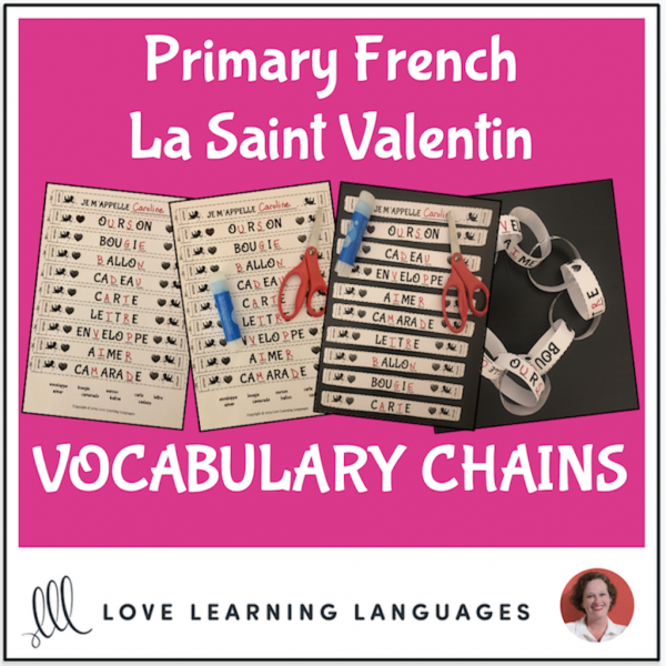 Primary French - Valentine's Day Vocabulary Chains