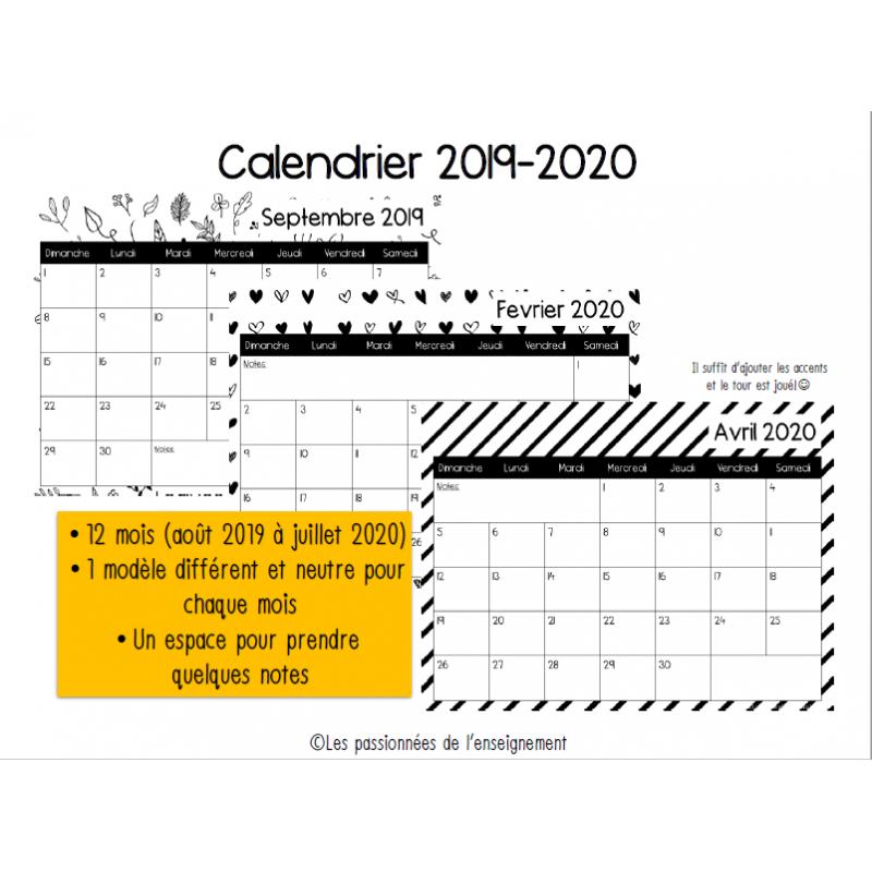 Calendrier Mensuel 2019 2020.Calendrier Mensuel 2019 2020