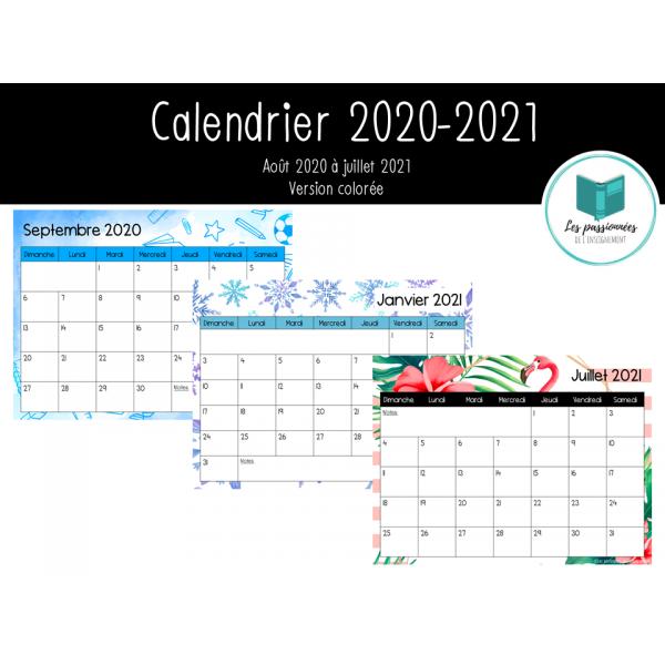 Calendrier mensuel 2020-2021