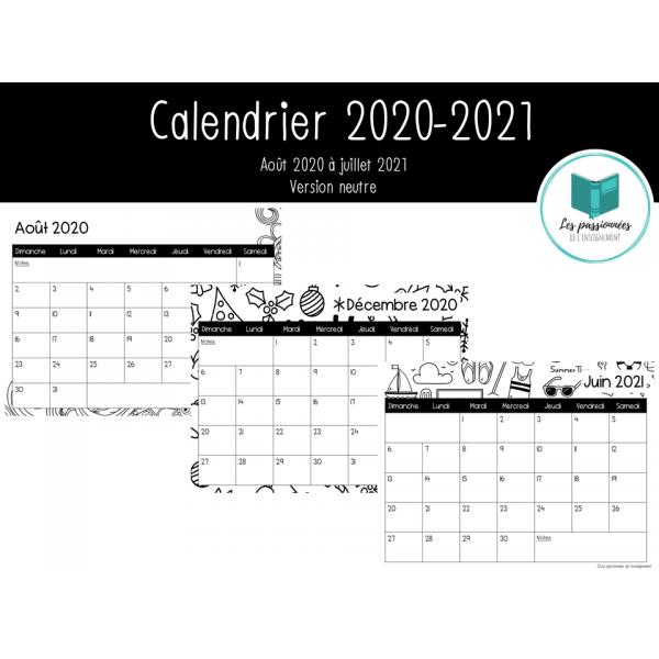 Calendrier mensuel neutre 2020-2021