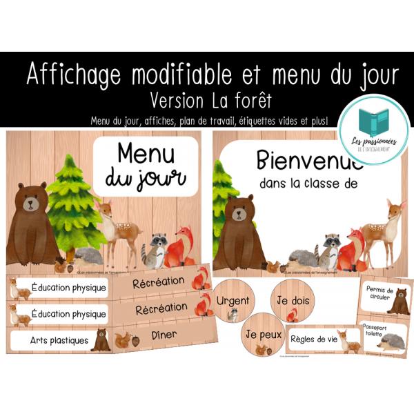 Menu du jour et affichage de classe - La forêt