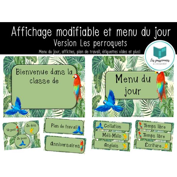 Menu du jour et affichage de classe - Perroquets