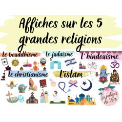 Affiches sur les 5 grandes religions (E.C.R.)