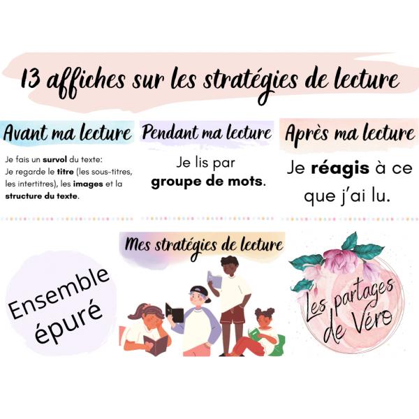 Affiches - Mes stratégies de lecture (pastel)