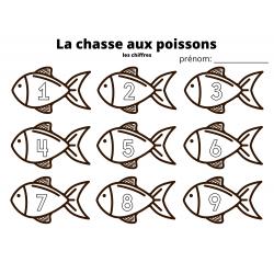 la chasse aux poissons 1 à 9 et 10 à 18