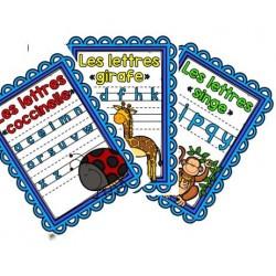 Affiches : Lettres coccinelle, girafe, singe