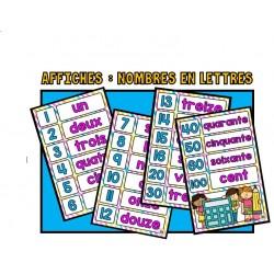 Affiches : Écriture des nombres (lettres)