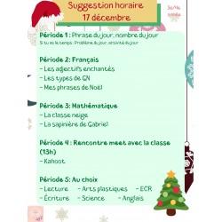 Suggestion d'horaire 17 au 22 décembre