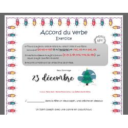 Dictée trouée verbe 23 décembre Noël