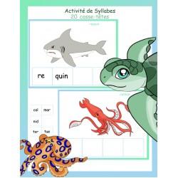 activité de syllabe 20 casse-tête animaux marins