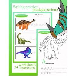 34 exercices d'écriture sur les dinosaures