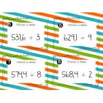 Cartes à tâches - Division de nombres décimaux