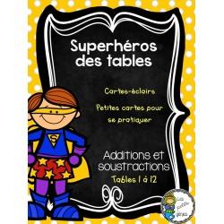 Superhéros des tables - cartes-éclair