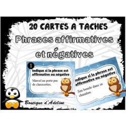cartes à tâches: phrases affirmatives et négatives