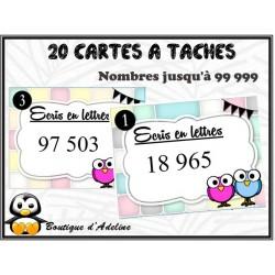 cartes à tâches: écrire les nombres jusqu'à 99 999