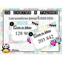 cartes à tâches: écrire nombres jusqu'à 999 999