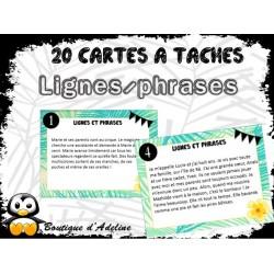cartes à tâches: lignes et phrases
