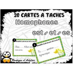 cartes à tâches: homophones est - et - es