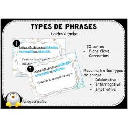 cartes à tâche types de phrases