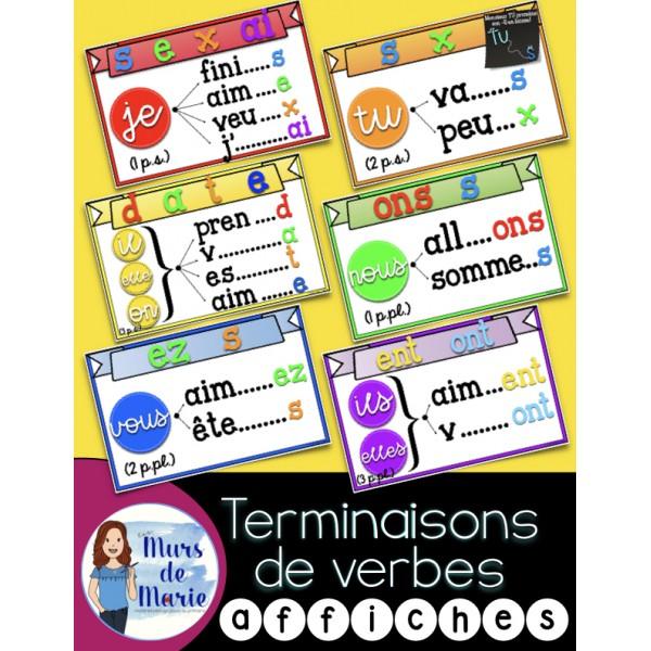 Terminaisons de Verbes (6 affiches)