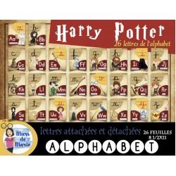 Alphabet Harry Potter lettres attachées+détachées