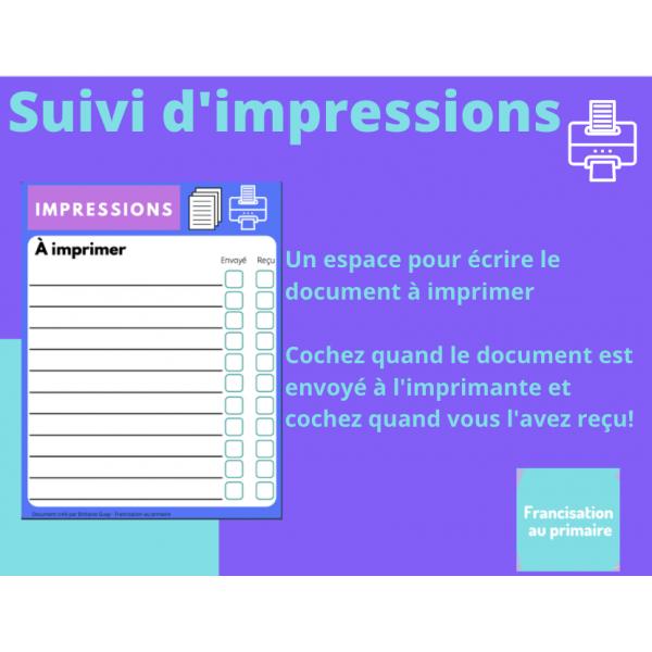 Suivi d'impressions