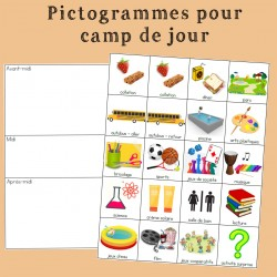 Pictogrammes et horaire de camp de jour