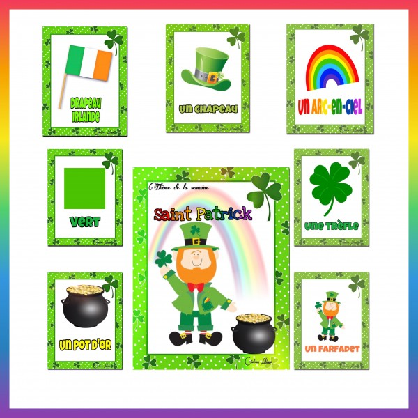 Saint Patrick mots étiquettes et affiche